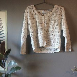 White Crochet Cropped Cardigan | S